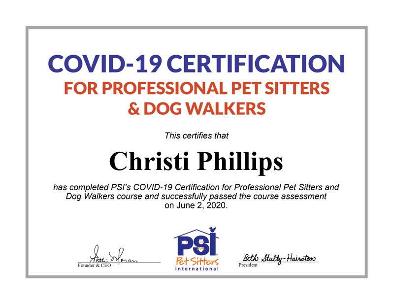 covid-19 certified pet sitter